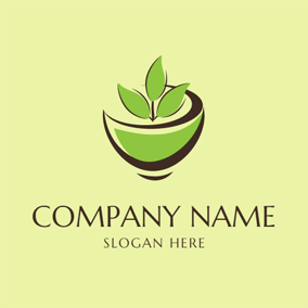 Abstract Black and Green Tea Cup logo design
