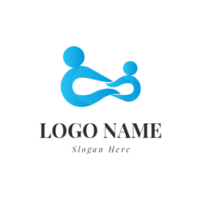 Abstract Blue Human Icon logo design