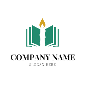 Abstract Book and Candle logo design