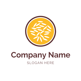 Abstract Bowl and Rice Grains logo design