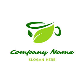 Abstract Green and Blue Tea Cup logo design