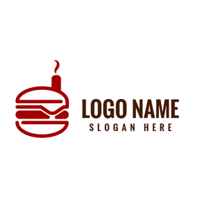 Abstract House and Red Burger logo design