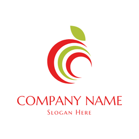 Abstract Red and Green Apple logo design