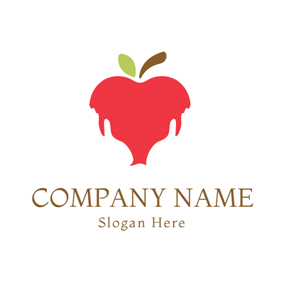 Abstract Red Apple Icon logo design