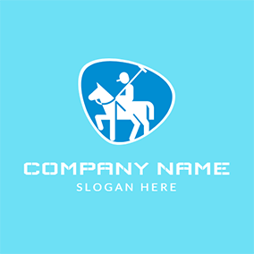Abstract White Horse and Sportsman logo design