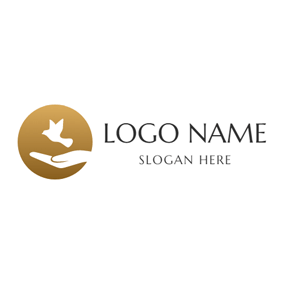 Abstract White Pigeon and Hand logo design