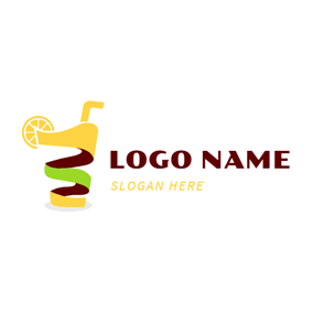 Abstract Yellow and Green Juice logo design