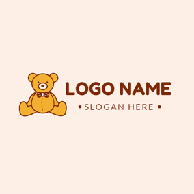 Adorable Orange Toy Bear logo design