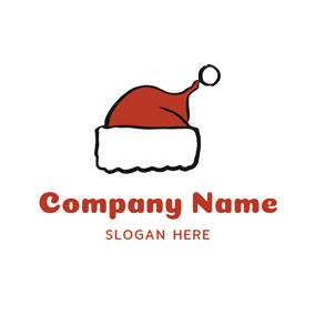 Adorable Red Christmas Hat logo design