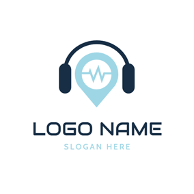 Audio Frequency and Headphone logo design