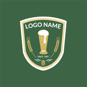 Badge and Beer Glass logo design
