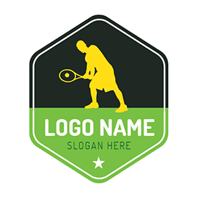 Badge and Tennis Player logo design