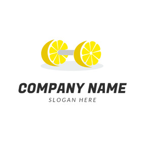 Barbell Shape and Yellow Lemon logo design