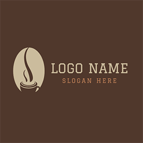 Beige and Chocolate Hot Coffee logo design