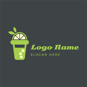 Beige and Green Juice Cup logo design
