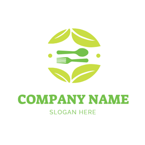 Beige Leaf and Green Tableware logo design
