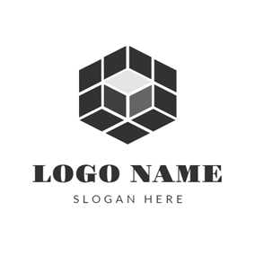 Black and Gray Cube logo design