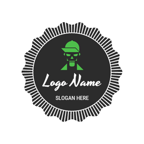 Black and Green Skull logo design