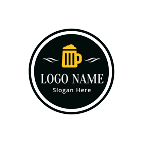 Black and Yellow Beer Mug logo design