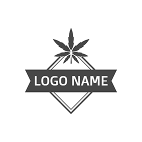 Black Badge and Cannabis Icon logo design