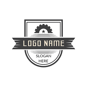 Black Badge and Gear Icon logo design