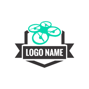 Black Badge and Green Drone logo design