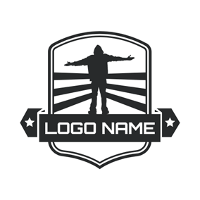 Black Badge and Man logo design