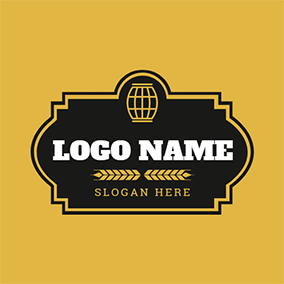 Black Badge and Yellow Barrel logo design