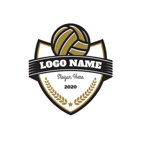 Black Banner and Yellow Volleyball logo design