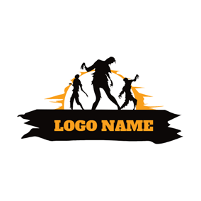 Black Banner and Zombie logo design