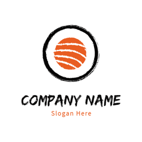 Black Circle and Orange Salmon logo design