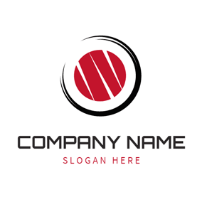 Black Circle and Red Sushi logo design