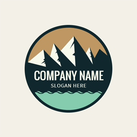 Black Circle and White Mountain logo design