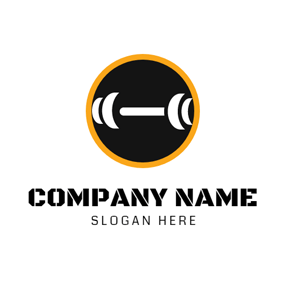 Black Circle and White Weight Lift logo design