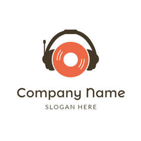 Black Earphone and Red CD logo design
