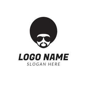 Black Glasses and Head Portrait logo design