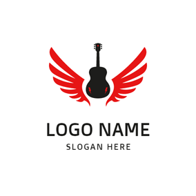 Black Guitar and Red Wings logo design