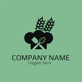 Black Hat and Green Wheat logo design
