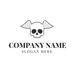 Black Human Skeleton and White Wing logo design
