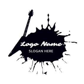 Black Ink and Guitar logo design