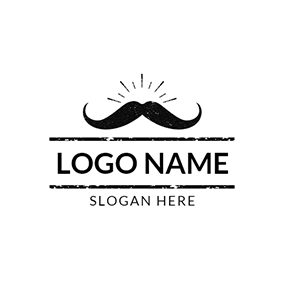 Black Mustache and Funky Icon logo design