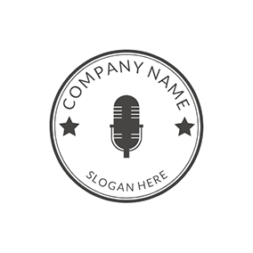 Black Star and Microphone Icon logo design
