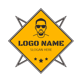 Black Star and Yellow Head Portrait logo design