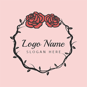 Black Thorn and Red Rose logo design