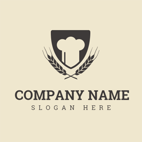 Black Wheat and White Chef Hat logo design
