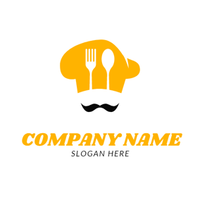 Black Whisker and Yellow Chef Cap logo design