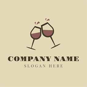 Black Wine Glass and Red Wine logo design