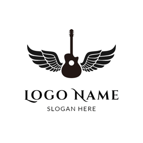 Black Wing and Outlined Guitar logo design