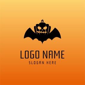 Black Wing and Pumpkin logo design