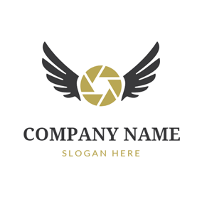 Black Wing and Yellow Lens logo design